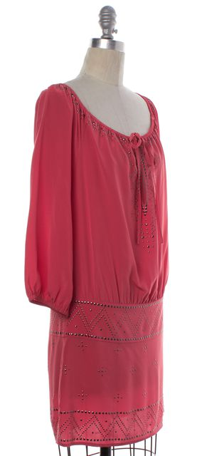 HAUTE HIPPIE Coral Pink Embellished Silk Blouson Dress