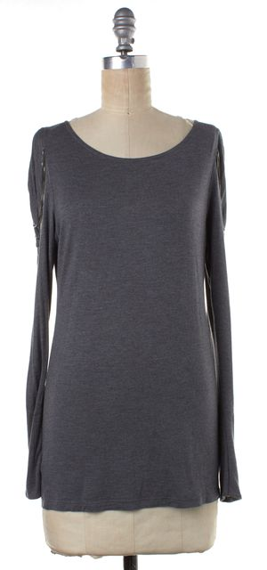 HAUTE HIPPIE Gray Gathered Chain Embellished Sleeve Top