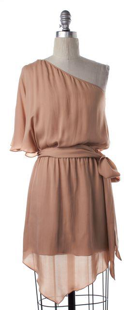 HAUTE HIPPIE Nude Pink Silk One Shoulder Belted Dress