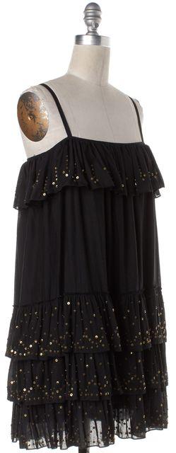 HAUTE HIPPIE Black Sequin Embellished Spaghetti Strap Slip Dress