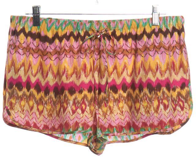 HAUTE HIPPIE Pink Green Drawstring Shorts