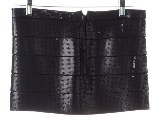 HAUTE HIPPIE Black Sequins Embellished Mini Skirt