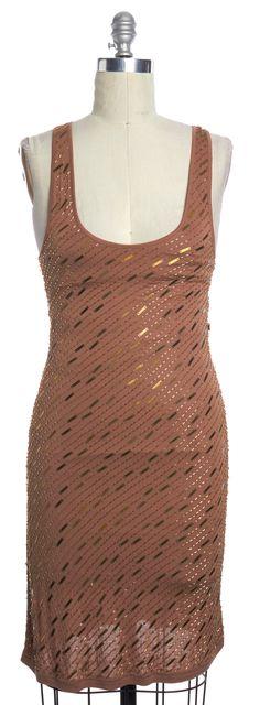 HAUTE HIPPIE Beige Embellished Sleeveless Bodycon Dress