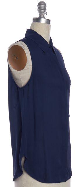 HAUTE HIPPIE Navy Blue Silk Sleeveless Button Down Shirt