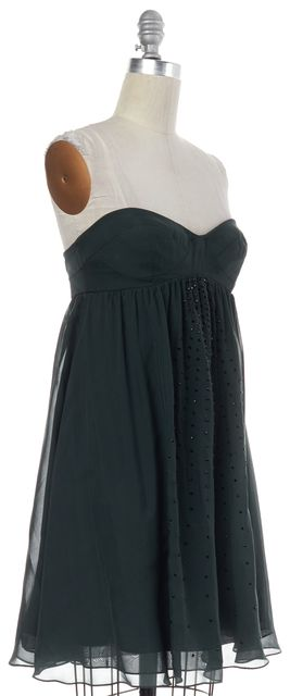 HAUTE HIPPIE Green Embellished Silk Strapless Empire Waist Dress