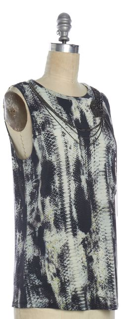 HAUTE HIPPIE Gray Snake Print Embellished Tank Top