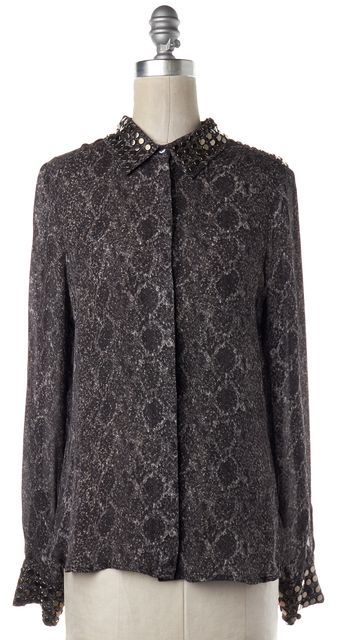 HAUTE HIPPIE Brown Black Reptile Printed Embellished Silk Blouse Top