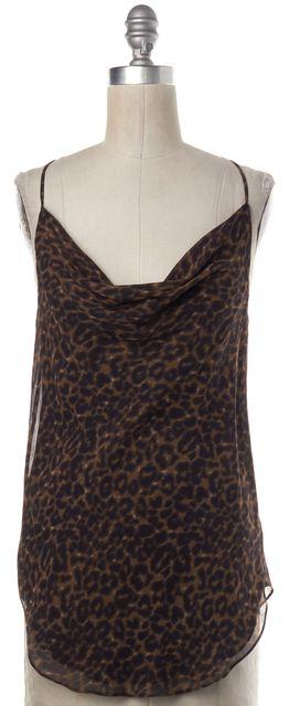 HAUTE HIPPIE Brown Leopard Silk Slip Top