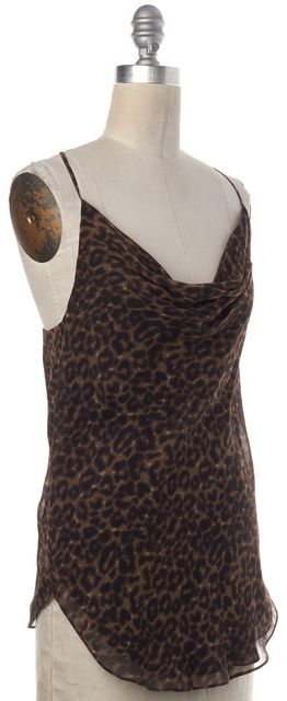HAUTE HIPPIE Brown Leopard Silk Slip Top