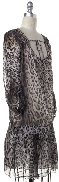 HAUTE HIPPIE Brown Leopard Print Drop Waist Dress