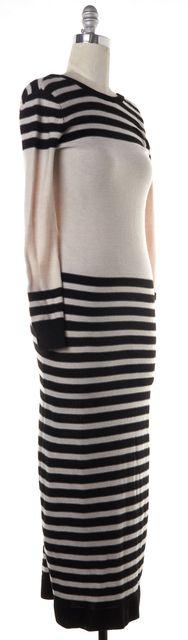 HAUTE HIPPIE Black Ivory Striped Full Length Sweater Dress Fits Like a M