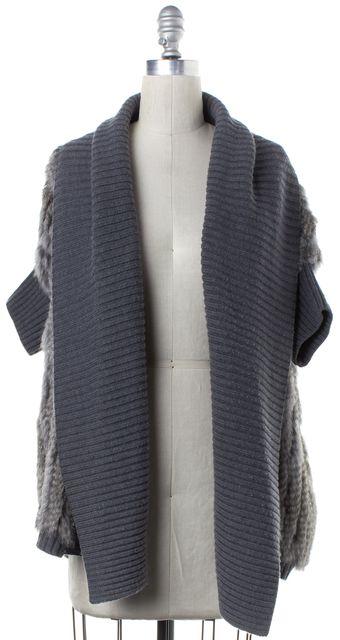 HAUTE HIPPIE Gray Wool Rib Knit Rabbit Fur Cardigan