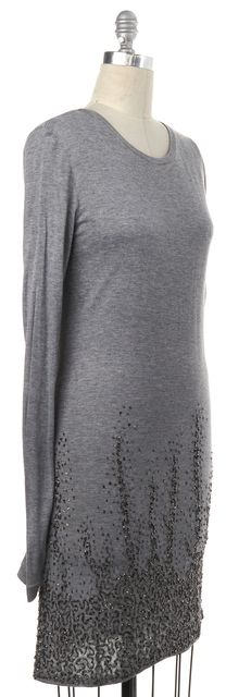 HAUTE HIPPIE Gray Embellished Stretch Dress