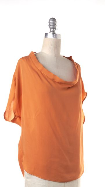 HAUTE HIPPIE Orange Casual Silk Draped Neck Relaxed Fit Blouse Top