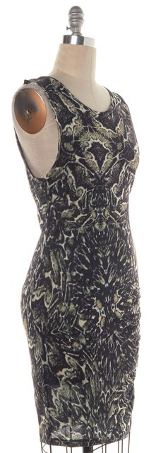 HAUTE HIPPIE Black Beige Print Sheath Dress