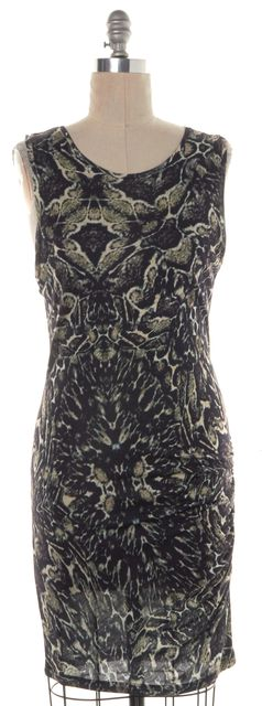 HAUTE HIPPIE Black Beige Print Sheath Dress