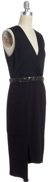 HAUTE HIPPIE Black Silk Asymmetrical Hem Embellished Waist Dress