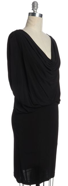 HAUTE HIPPIE Black Sleeveless Cowl Neck Blouson Dress