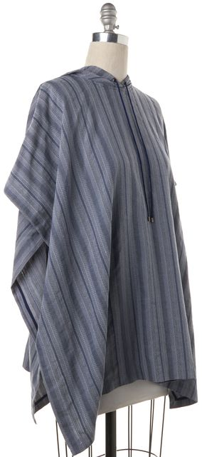 HAUTE HIPPIE Blue Chevron Poncho One Size