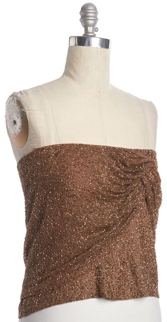 HAUTE HIPPIE Brown Beaded Embellished Silk Strapless Top
