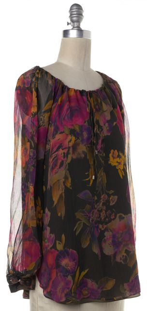 HAUTE HIPPIE Black Multi-Colored Floral Silk Open Long Sleeve Blouse