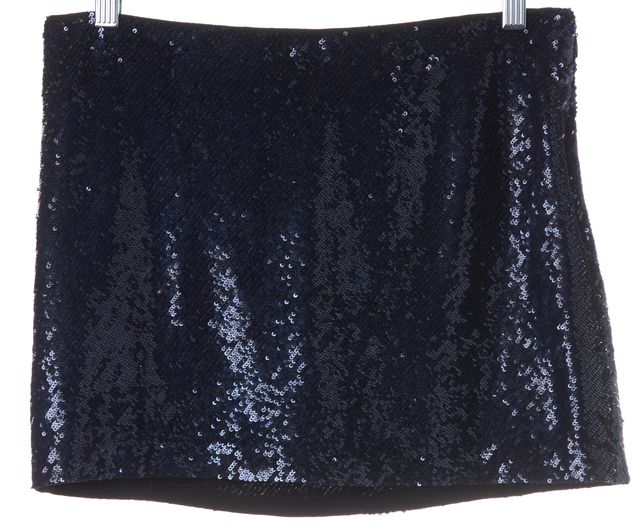 HAUTE HIPPIE Navy Blue Sequin 100% Silk Micro Mini Skirt