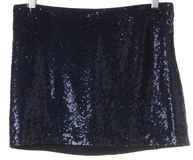 HAUTE HIPPIE Navy Blue Sequin 100% Silk Micro Mini Skirt