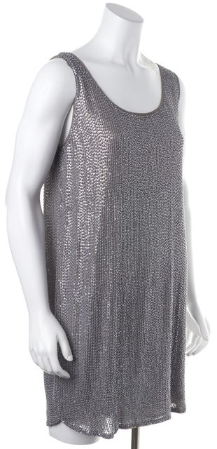 HAUTE HIPPIE Gray Sequin Silk Shift Mini Dress