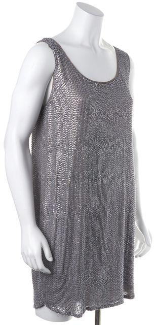 HAUTE HIPPIE Gray Sequin Silk Shift Mini Dress