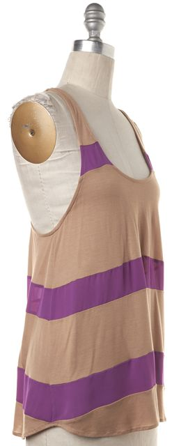 HAUTE HIPPIE Brown Purple Striped Silk Tank Top