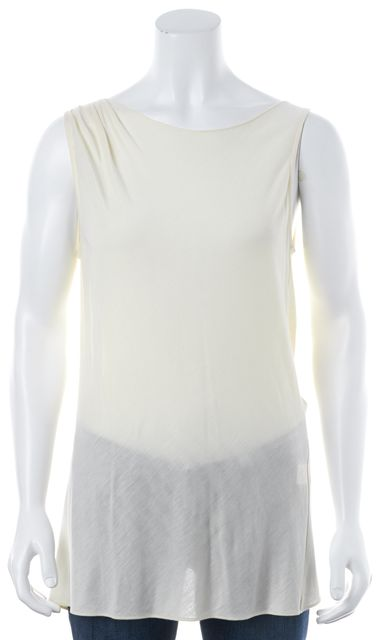 HAUTE HIPPIE Ivory Semi Sheer Modal Low Crossover Back Blouse Top