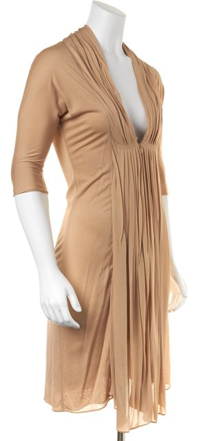 HAUTE HIPPIE Beige Pleat Front Deep V-Neck Casual Sheath Dress