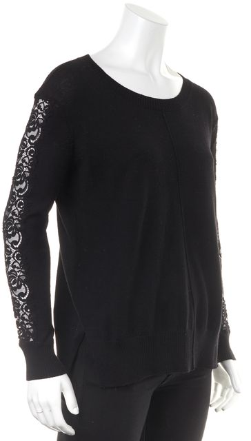 HAUTE HIPPIE Black Lace Panel Crewneck Sweater