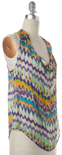 HAUTE HIPPIE Purple Green Yellow Abstract Scoop Neck Casual Silk Blouse