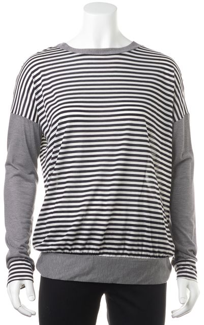 HAUTE HIPPIE Black White Modal Striped Crewneck Semi-Sheer Top