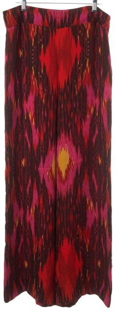 HAUTE HIPPIE Multi-color Red Pink Abstract Pants