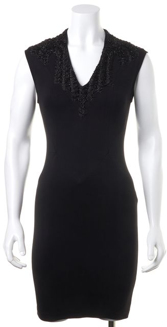 HAUTE HIPPIE Black Sequin Embellished V-Neck Sheath Dress