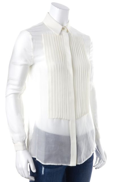 HAUTE HIPPIE Ivory Swan Silk Casual Pleat Blouse Top