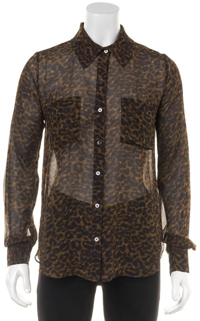 HAUTE HIPPIE Brown Leopard Print Silk Button Down Shirt