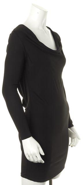 HAUTE HIPPIE Black Cowl Neck Draped Low Back Mini Sheath Dress