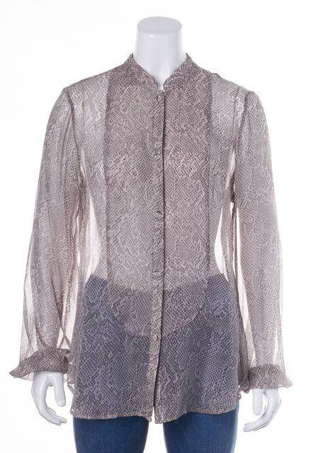HAUTE HIPPIE Pink Gray Snake Print Silk Sheer Button Down Shirt Top