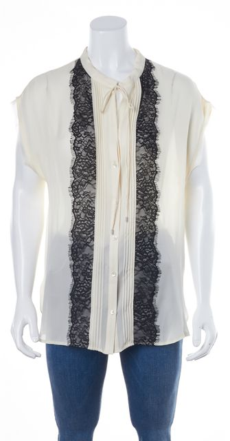 HAUTE HIPPIE Ivory Black Silk Pleat Lace Trim Front Tie Neck Blouse Top