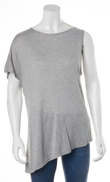 HAUTE HIPPIE Gray Knit Jersey One Sleeve Sheer Back Asymmetrical Tee Top