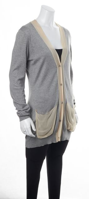 HAUTE HIPPIE Gray Knit Beige Sheer Silk Trim Cardigan