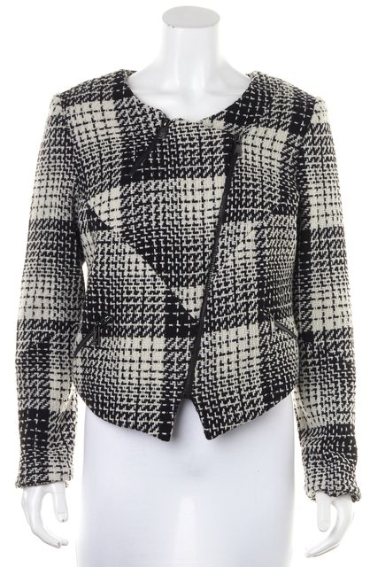 HAUTE HIPPIE Black White Tweed Wool Zip Jacket