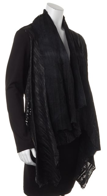 HAUTE HIPPIE Black Ponte Jersey Lamb Leather Combo Open Draped Jacket