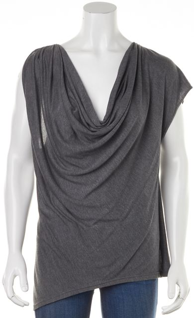 HAUTE HIPPIE Gray Left Cap Sleeve Right Sleeveless Blouse Top