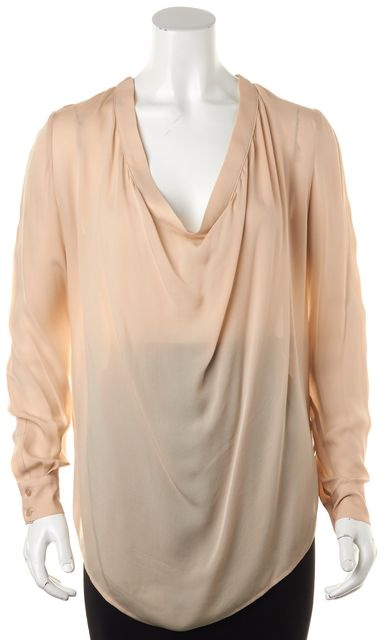 HAUTE HIPPIE Blush Pink Silk Cowl Neck Semi Sheer Summer Blouse