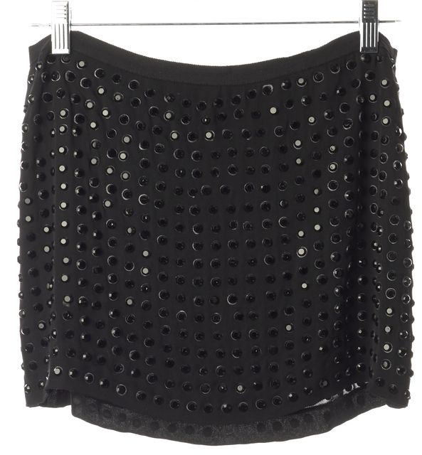 HAUTE HIPPIE Black Stud Embellished Casual Straight Mini Skirt