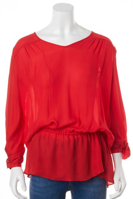 HAUTE HIPPIE Red Sheer Silk Long Sleeve Relaxed Fit Blouson Top